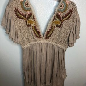 Free People Embroidered Plunge Neck Top